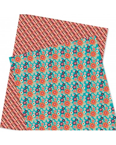 Wrapping Paper - WP4964-HAL022 - Flowers / Stripes