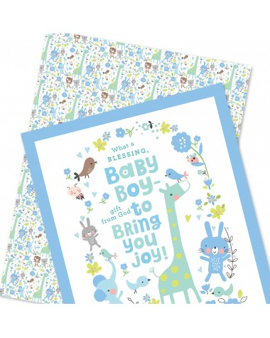 Wrapping Paper - WP4964-HAL023 - What a Blessing, BABY BOY - gift from God to Bring You Joy!