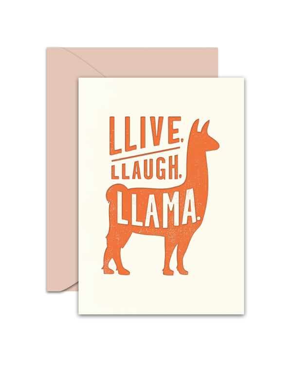 Greeting Card - GC2916-HAL013 - LLIVE, LLAUGH, LLAMA.