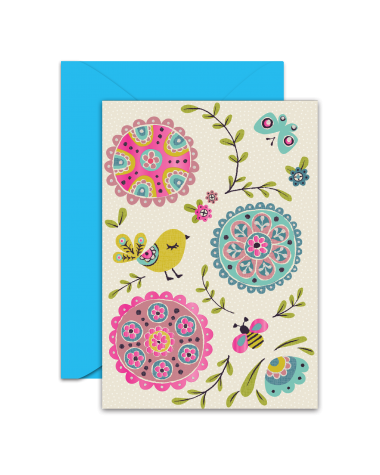 Greeting Card - GC2916-HAL039 - Bird, Butterfly, Bee and Flowers - Blank Card