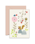 Greeting Card - GC2916-HAL042 - Bird, Squirrel and Flowers - Blank Card