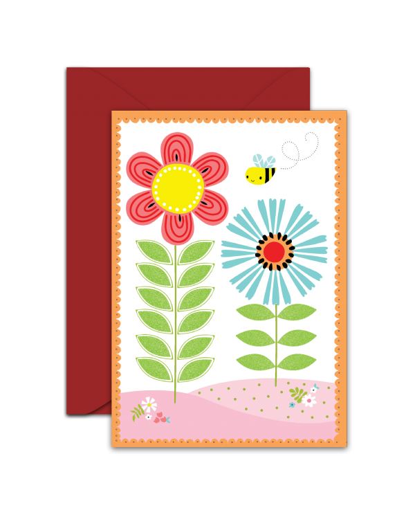 Greeting Card - GC2916-HAL043 - Flowers and Bee - Blank Card