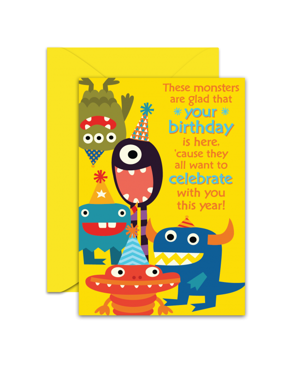 Greeting Card - GC2916-HAL071 - These monsters are glad that your birthday is here, 'cause they all want to celebrate with you this year!
