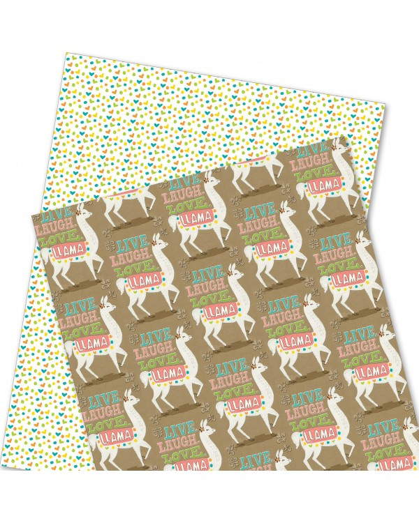 Wrapping Paper - WP4964-HAL009 - LIVE. LAUGH. LOVE. LLAMA.